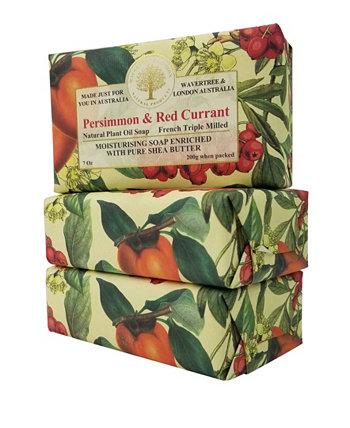 Мыло из хурмы и красной смородины с пакетом из 3 штук, каждая по 7 унций Wavertree & London