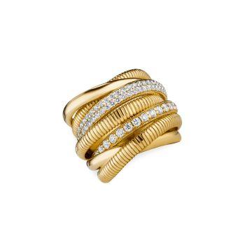 Eternity 18K желтое золото & amp; 7-полосное кольцо с бриллиантом Judith Ripka