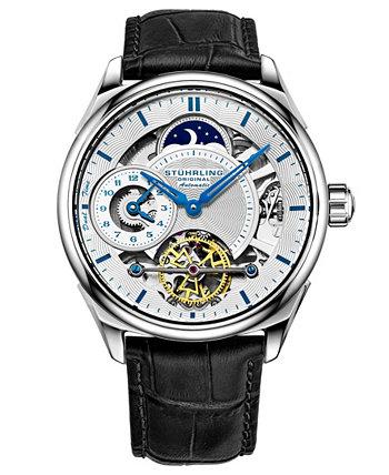 Мужские часы с синим кожаным ремешком 42мм Stuhrling