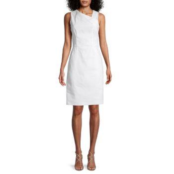 Asymmetric-Neck Sheath Dress Halston Heritage