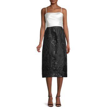 Colorblocked Tea Length Dress Carmen Marc Valvo Infusion
