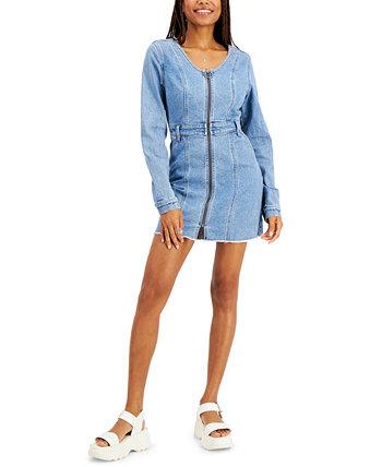 Джинсовое платье с молнией спереди для юниоров Tinseltown