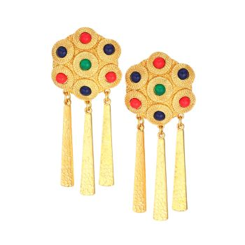 Satin 22K Goldplated & Multicolor Cabochon Clip-On Drop Earrings Kenneth Jay Lane