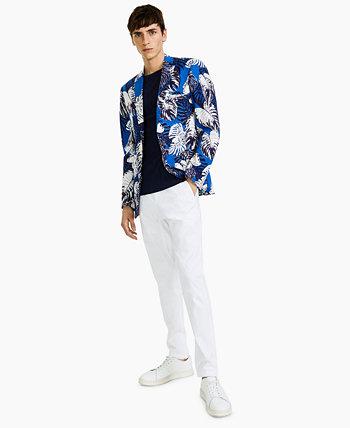 Мужской приталенный синий / белый пиджак с цветочным принтом Paisley & Gray