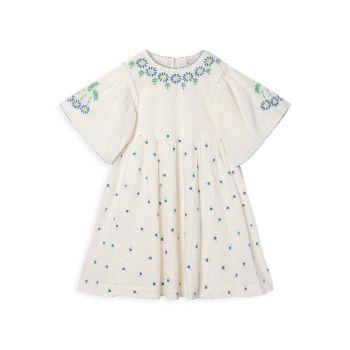 Маленькая девочка & amp; Марлевое платье с вышивкой в виде крошечных цветов для девочек Stella McCartney Kids