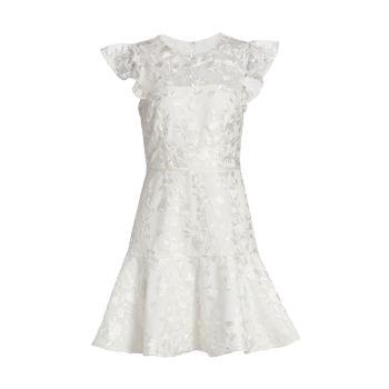 Платье с цветочной вышивкой и воланом ML Monique Lhuillier
