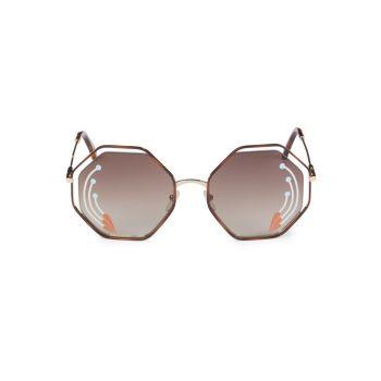 Солнцезащитные очки Havana 58MM с шестигранной оправой Chloe
