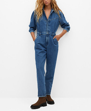 Women's Cotton Denim Jumpsuit MANGO