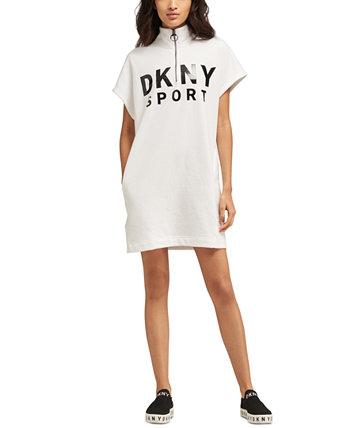 Спортивное платье с логотипом на молнии DKNY