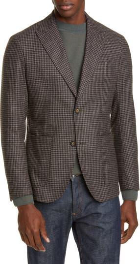 Slim Fit Check Wool Blend Sport Coat Eleventy