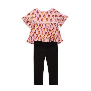 Двухкомпонентный топ Little Girl с цветочным рисунком в стиле ампир и амп; Комплект леггинсов Pippa & Julie