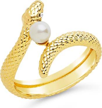 Кольцо Twist Serpent & Imitation Pearl Sterling Forever