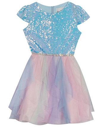 Платье-каскад с блестками для малышей и маленьких девочек Rare Editions