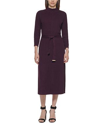 Платье-свитер в рубчик с поясом Calvin Klein