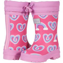 Twisty Rainbow Hearts Sherpa Lined Rain Boots (Toddler/Little Kid) Hatley Kids