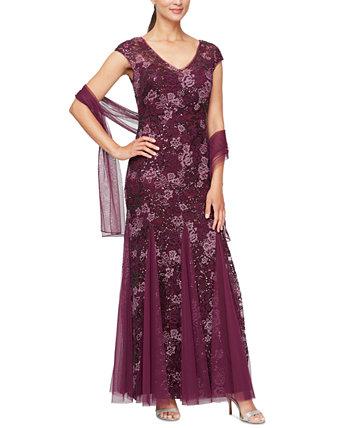 Расшитое пайетками платье и шаль для миниатюрных Alex Evenings