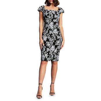 Платье-футляр из жаккарда с цветочным рисунком и квадратной формы Tadashi Shoji