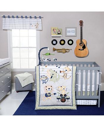Комплект постельного белья для детской кроватки из 6 предметов Safari Rock Band Trend Lab