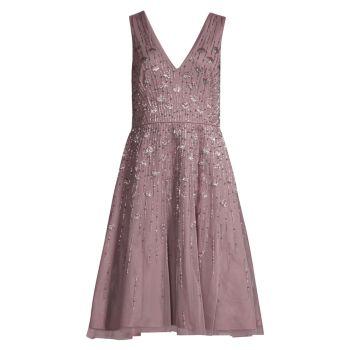Украшенный Fit & amp; Расклешенное платье миди Aidan Mattox