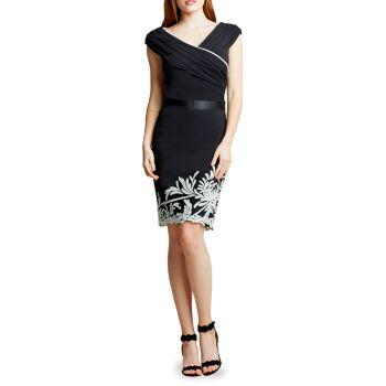 Платье с запахом и V-образным вырезом с вышивкой Tadashi Shoji