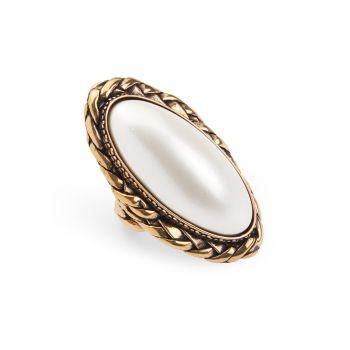 Коктейльное кольцо с жемчужным камнем Alexander McQueen