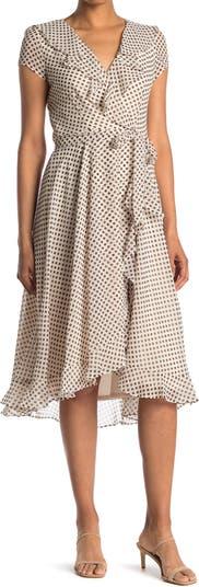 Short Sleeve Surplice Polka Dot Chiffon Dress Gabby Skye