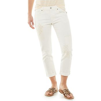 Women's Sonoma Goods For Life® Crop Straight-Leg Jeans - White Embroidered Sonoma Goods For Life