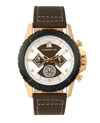 Серия M57, золотой корпус, часы с оливковым хронографом и кожаным ремешком, 43 мм Morphic
