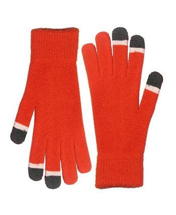 Микро-бархатные оранжевые перчатки для сенсорного экрана со светящимися наконечниками MinxNY