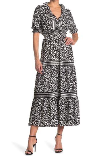 Многослойное платье макси с длинными рукавами и принтом на рукавах Max Studio