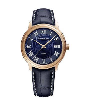 Мужские швейцарские автоматические часы Maestro Blue с кожаным ремешком 39,5 мм Raymond Weil