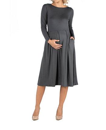 Платье для беременных длиной миди и расклешенными карманами 24seven Comfort Apparel