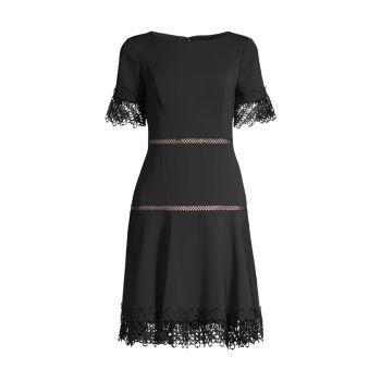 Платье из крепа с кружевной отделкой SHANI