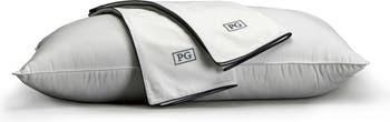 Standard/Queen  100% Cotton Sateen Pillow Protector - Set of 2 - White/Navy Pillow Guy