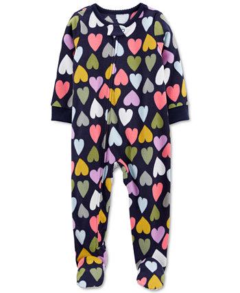 Флисовые пижамы с принтом в виде сердечек для маленьких девочек Carter's