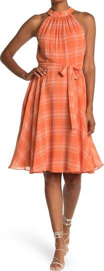 Halter Neck Plaid Print Chiffon Dress Gabby Skye