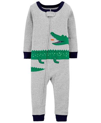 Хлопковые пижамы без ножек из аллигатора для маленьких мальчиков Carters