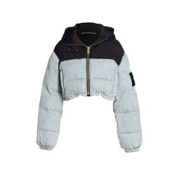 Двухцветная укороченная куртка-пуховик Alexander Wang