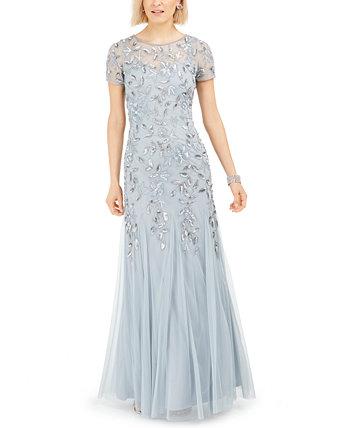 Цветочно-бисерное платье Adrianna Papell