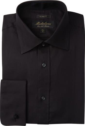 Приталенная классическая рубашка под смокинг с однотонной текстурой Michelsons