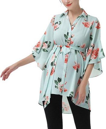 Блузка для беременных и кормящих мам Emma с поясом Kimi + kai