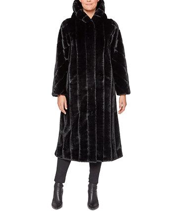 Макси-пальто с капюшоном из искусственного меха Jones New York