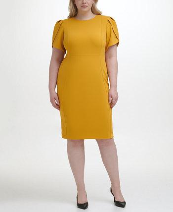 Plus Size Puff-Sleeve Sheath Dress Calvin Klein