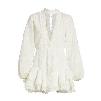 Кружевное мини-платье-чокер HEMANT & NANDITA