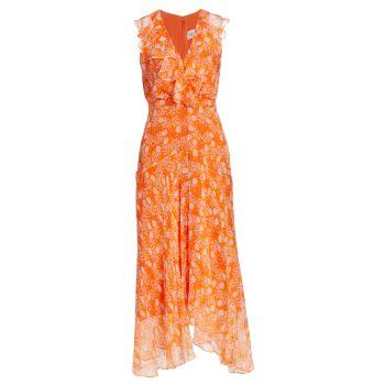 Шелковое платье Rita с цветочным принтом SALONI