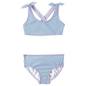 Girls 4-16 Lands' End Seersucker Bikini Top & Bottoms Swimsuit Set Lands' End