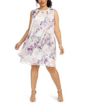 Платье большого размера с цветочным вырезом SL Fashions