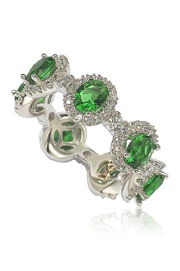 Набор зубцов из стерлингового серебра Зеленый браслет Halo Station Eternity из CZ и паве с паве Suzy Levian