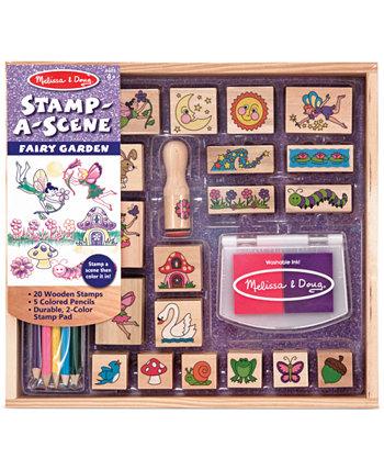 Детские игрушки, Stamp-a-Scene Fairy Garden Set Melissa and Doug