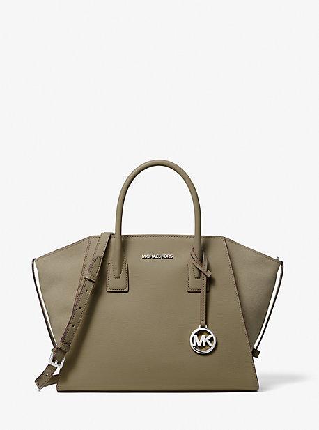 Большая кожаная сумка-портфель Avril на молнии сверху Michael Kors
